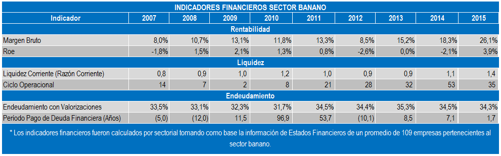 Banano Informe Indicadores Financieros May 16